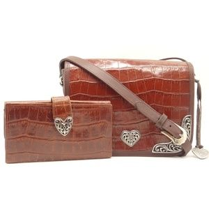 BRIGHTON 2pc Shoulder Bag & Wallet Brown Leather